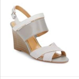 NW Enzo Angiolini Gray Leather Wedge Sandals
